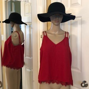 Red Cami with Lace Trim
